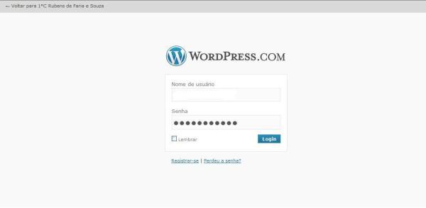 Login no WordPress.com pelo Blog do 1°C