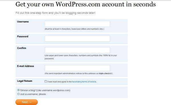 Registrando-se no WordPress.com