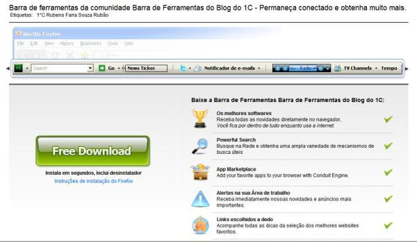 Barra de Ferramnetas do 1°C na página de download